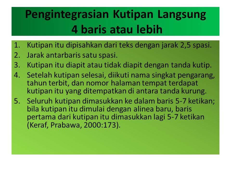 Pengintegrasian Kutipan Langsung 4 baris atau lebih 1.Kutipan itu dipisahkan dari teks dengan jarak 2,5 spasi. 2.Jarak antarbaris satu spasi. 3.Kutipa