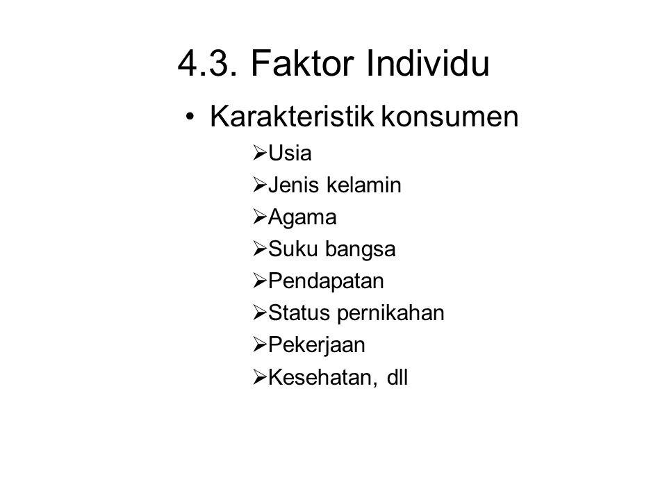 4.3. Faktor Individu Karakteristik konsumen  Usia  Jenis kelamin  Agama  Suku bangsa  Pendapatan  Status pernikahan  Pekerjaan  Kesehatan, dll