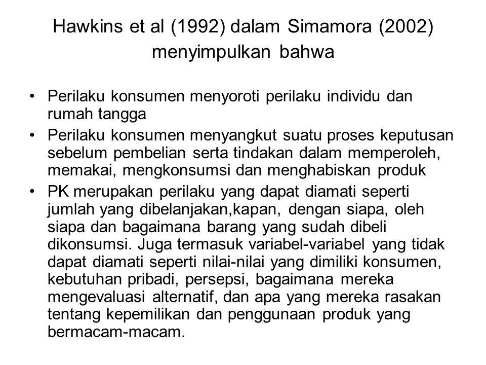 Hawkins et al (1992) dalam Simamora (2002) menyimpulkan bahwa Perilaku konsumen menyoroti perilaku individu dan rumah tangga Perilaku konsumen menyang
