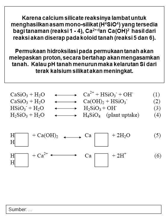 Karena calcium silicate reaksinya lambat untuk menghasilkan asam mono-silikat (H 4 SiO 4 ) yang tersedia bagi tanaman (reaksi 1 - 4), Ca 2+ d an Ca(OH
