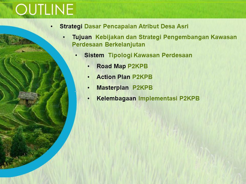 OUTLINE Strategi Dasar Pencapaian Atribut Desa Asri Tujuan Kebijakan dan Strategi Pengembangan Kawasan Perdesaan Berkelanjutan Sistem Tipologi Kawasan
