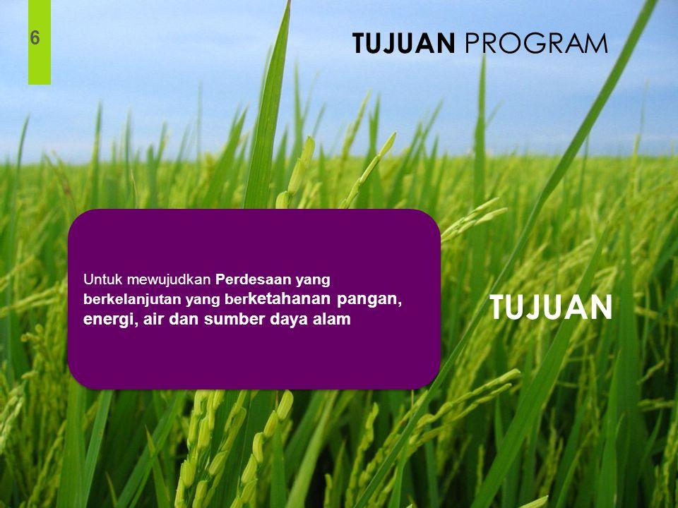 6 Untuk mewujudkan Perdesaan yang berkelanjutan yang ber ketahanan pangan, energi, air dan sumber daya alam TUJUAN TUJUAN PROGRAM