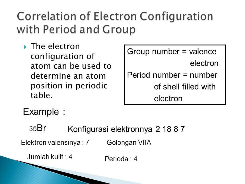  The electron configuration of atom can be used to determine an atom position in periodic table.