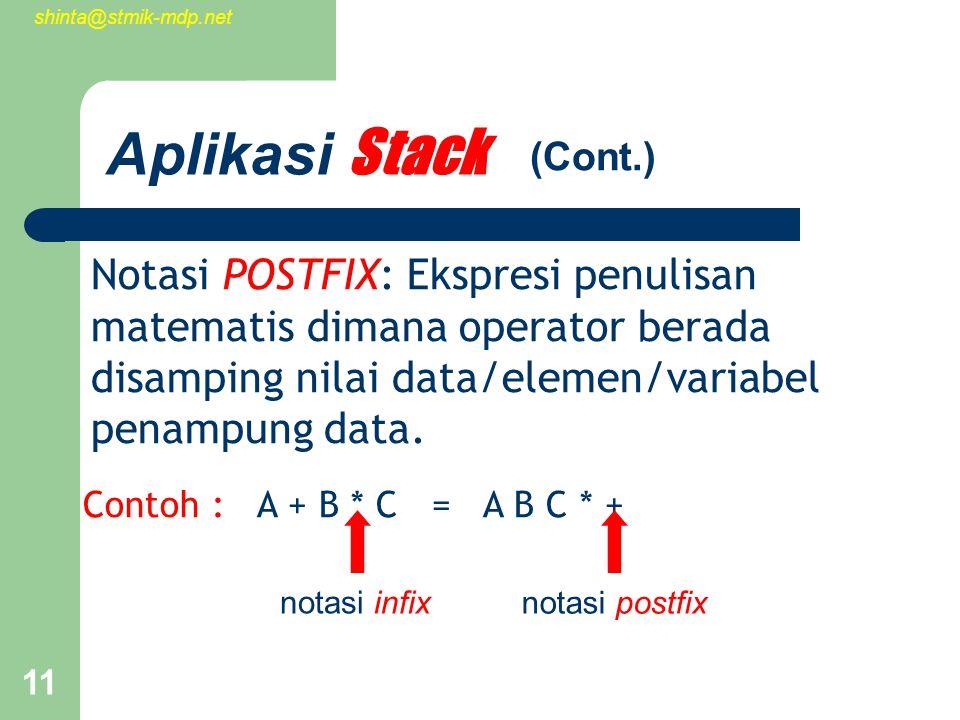 shinta@stmik-mdp.net 11 Aplikasi Stack Notasi POSTFIX: Ekspresi penulisan matematis dimana operator berada disamping nilai data/elemen/variabel penampung data.