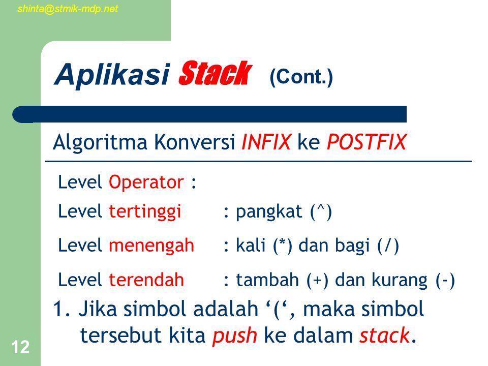 shinta@stmik-mdp.net 12 Aplikasi Stack Algoritma Konversi INFIX ke POSTFIX 1.