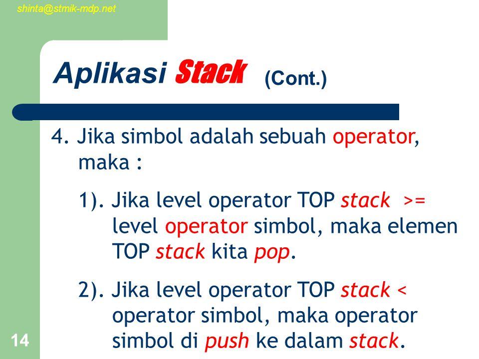 shinta@stmik-mdp.net 14 Aplikasi Stack 4. Jika simbol adalah sebuah operator, maka : 1).