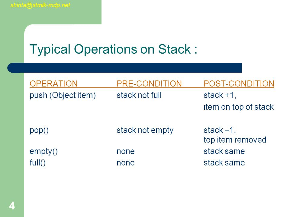 shinta@stmik-mdp.net 4 Typical Operations on Stack : OPERATIONPRE-CONDITIONPOST-CONDITION push (Object item)stack not fullstack +1, item on top of sta