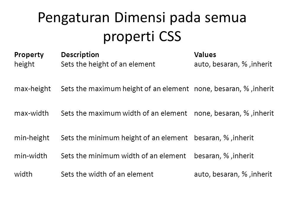 Pengaturan Dimensi pada semua properti CSS PropertyDescriptionValues heightSets the height of an elementauto, besaran, %,inherit max-heightSets the ma