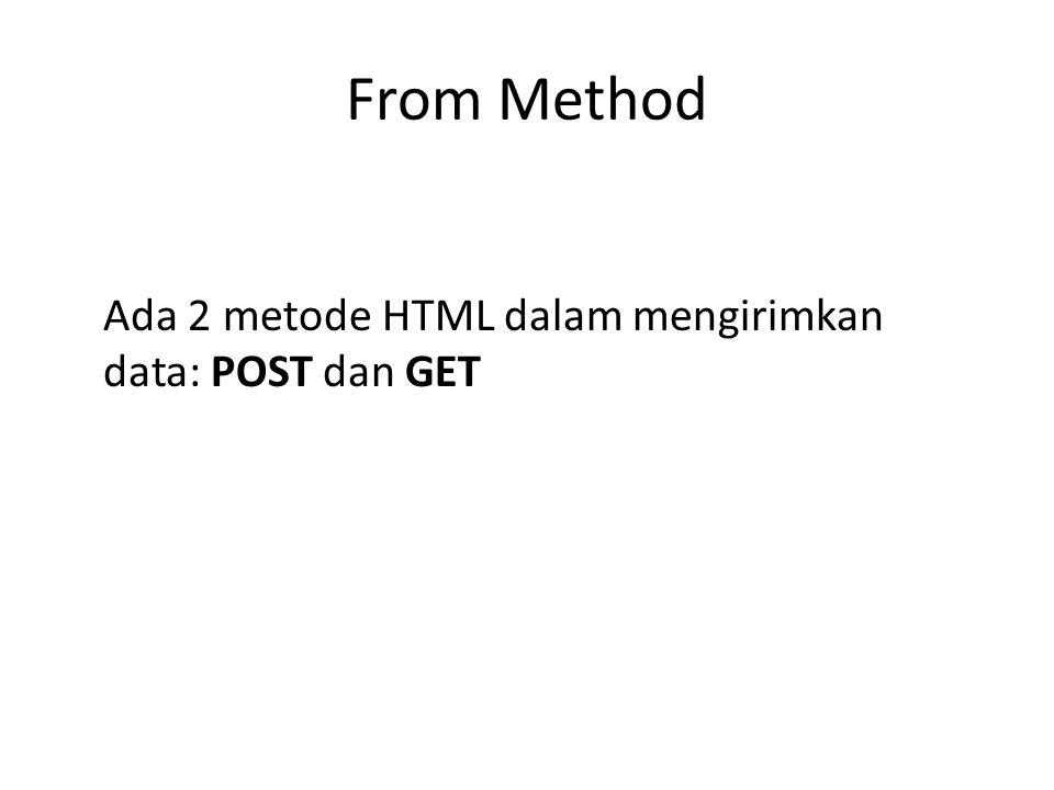 From Method Ada 2 metode HTML dalam mengirimkan data: POST dan GET