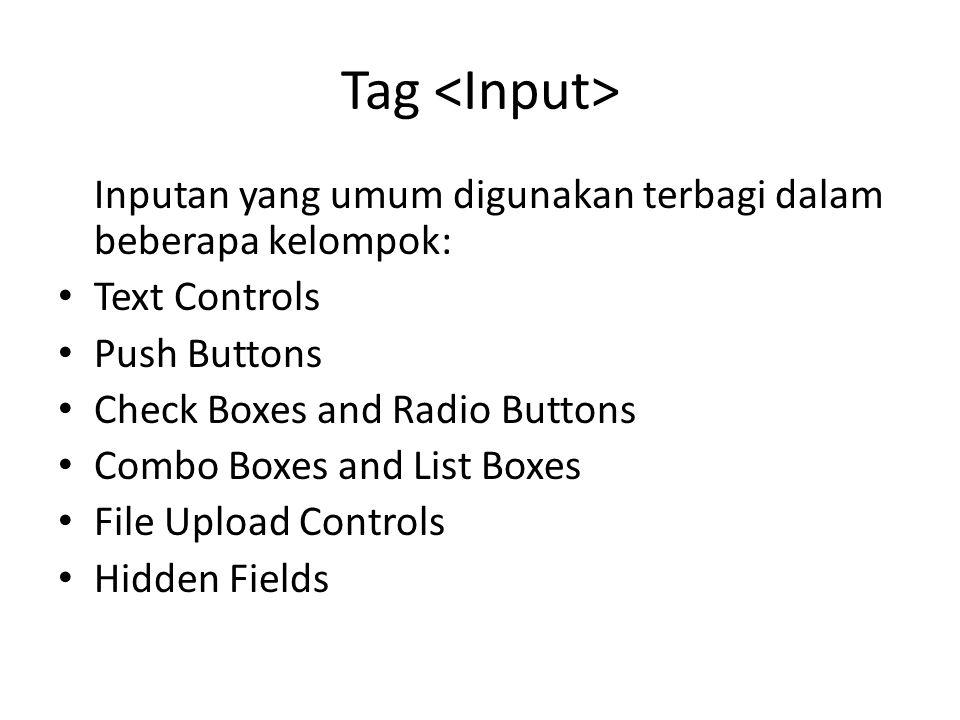Tag Inputan yang umum digunakan terbagi dalam beberapa kelompok: Text Controls Push Buttons Check Boxes and Radio Buttons Combo Boxes and List Boxes F