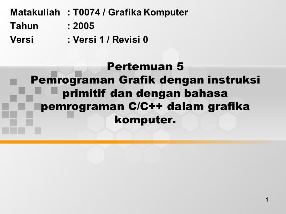 1 Pertemuan 5 Pemrograman Grafik dengan instruksi primitif dan dengan bahasa pemrograman C/C++ dalam grafika komputer. Matakuliah: T0074 / Grafika Kom