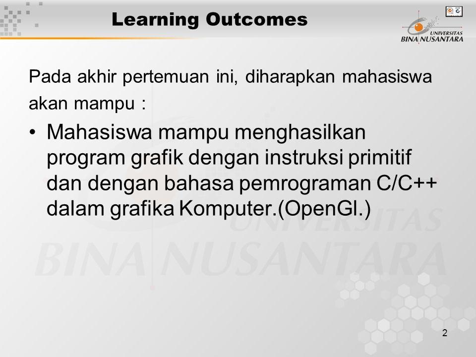 2 Learning Outcomes Pada akhir pertemuan ini, diharapkan mahasiswa akan mampu : Mahasiswa mampu menghasilkan program grafik dengan instruksi primitif