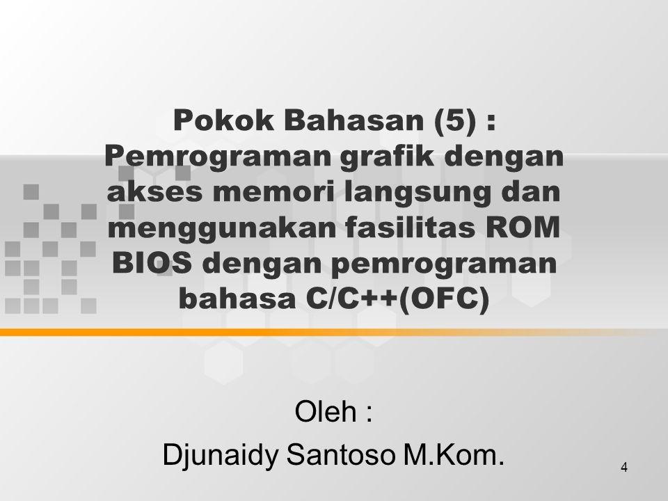 4 Pokok Bahasan (5) : Pemrograman grafik dengan akses memori langsung dan menggunakan fasilitas ROM BIOS dengan pemrograman bahasa C/C++(OFC) Oleh : D