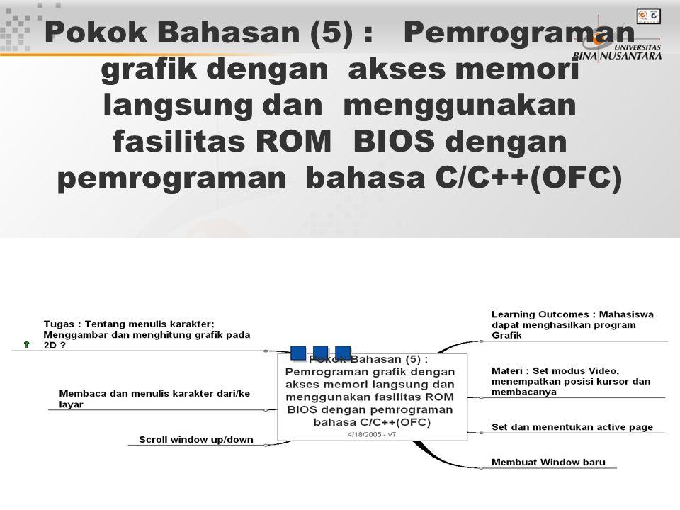 5 Pokok Bahasan (5) : Pemrograman grafik dengan akses memori langsung dan menggunakan fasilitas ROM BIOS dengan pemrograman bahasa C/C++(OFC)
