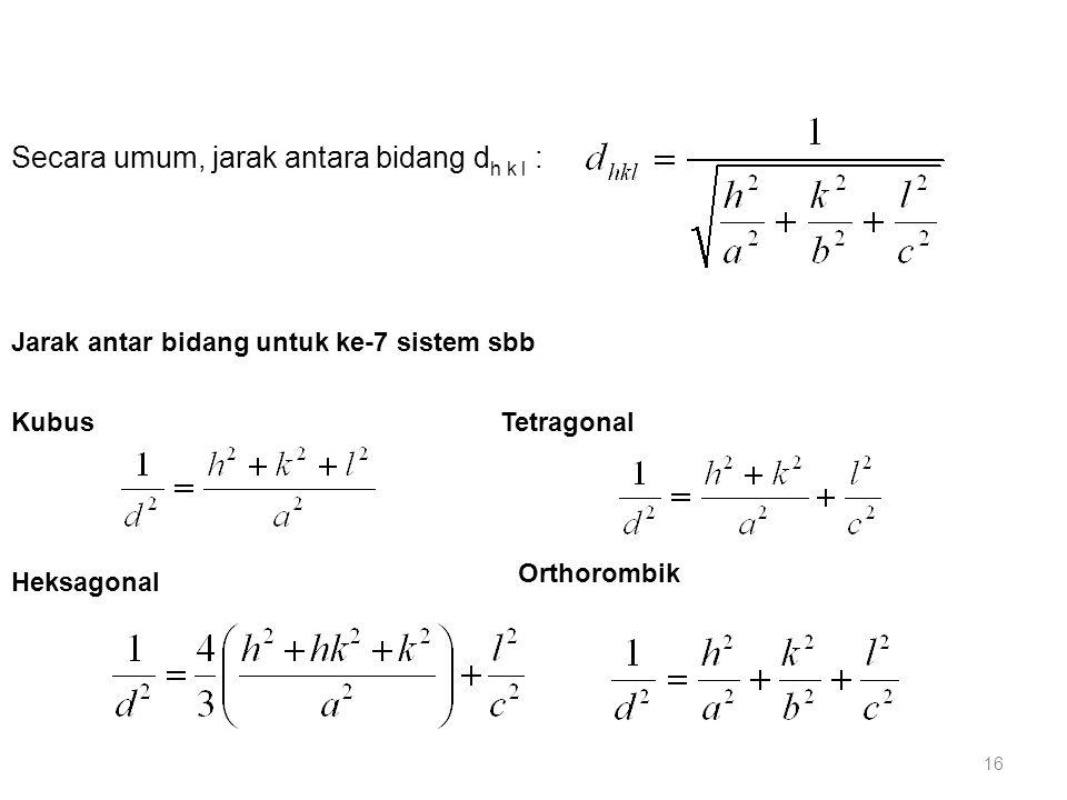Secara umum, jarak antara bidang d h k l : KubusTetragonal Heksagonal Jarak antar bidang untuk ke-7 sistem sbb Orthorombik 16