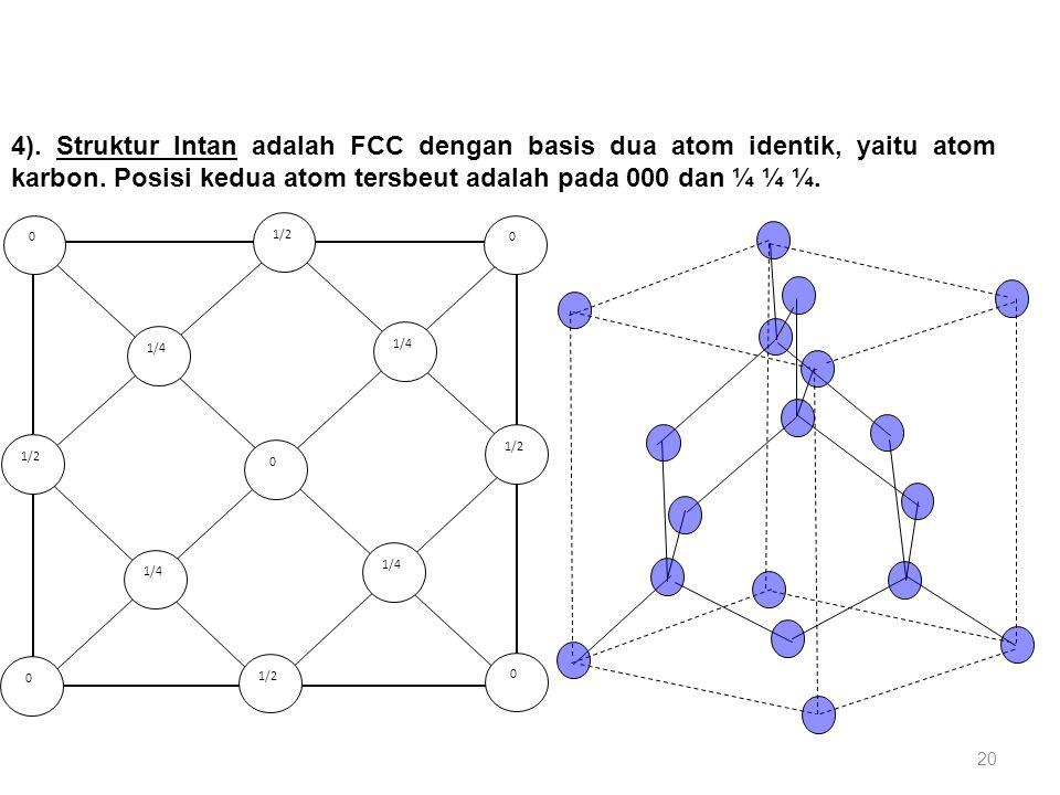 4). Struktur Intan adalah FCC dengan basis dua atom identik, yaitu atom karbon. Posisi kedua atom tersbeut adalah pada 000 dan ¼ ¼ ¼. 1/2 0 0 0 0 1/4