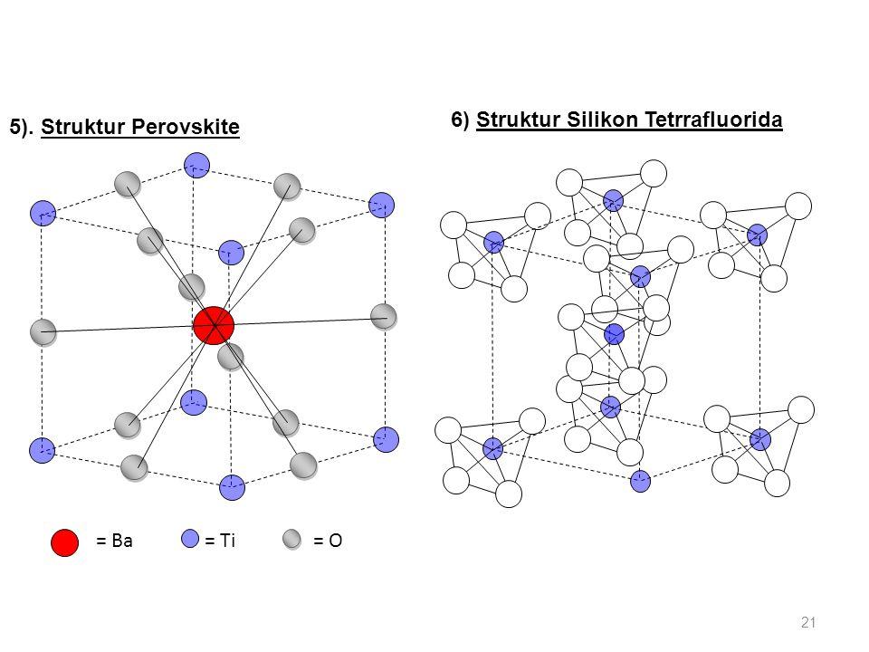 5). Struktur Perovskite = Ba= O= Ti 6) Struktur Silikon Tetrrafluorida 21