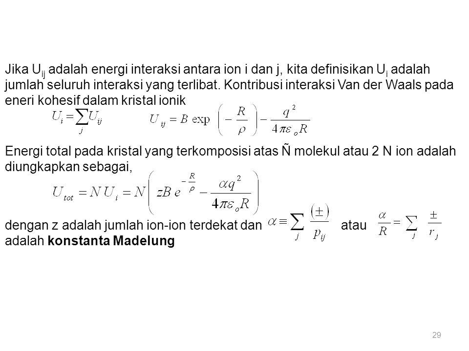 Jika U ij adalah energi interaksi antara ion i dan j, kita definisikan U i adalah jumlah seluruh interaksi yang terlibat. Kontribusi interaksi Van der