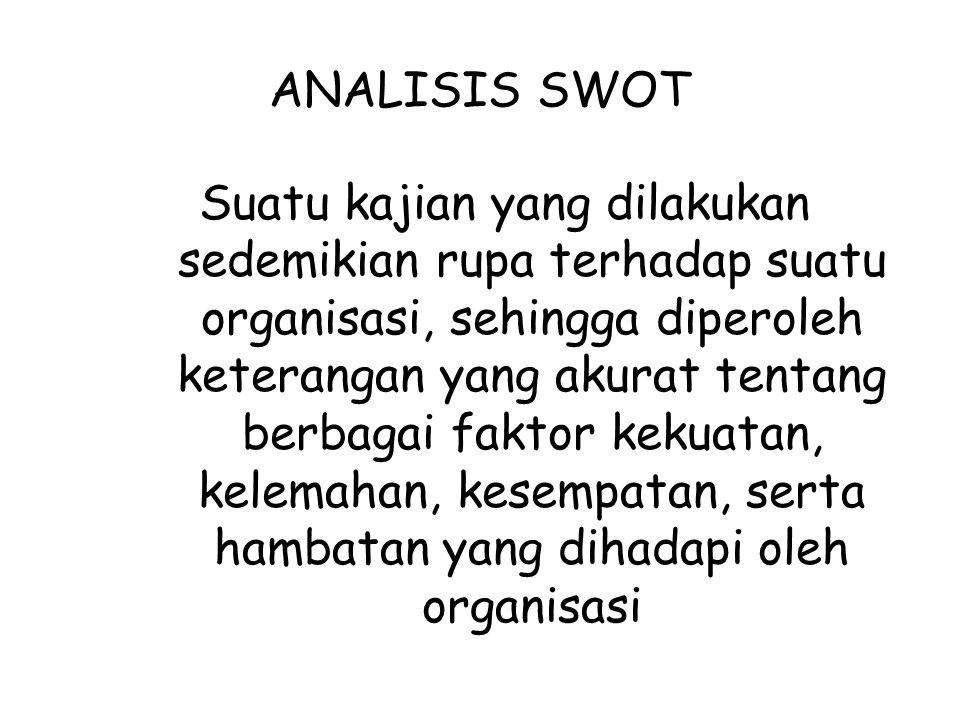 PENGAMBILAN KEPUTUSAN Ekspansi jika S > W dan O > T Diversifikasi jika S > W dan O < T Stabilisasi jika S T Retrencment jika S < W dan O < T