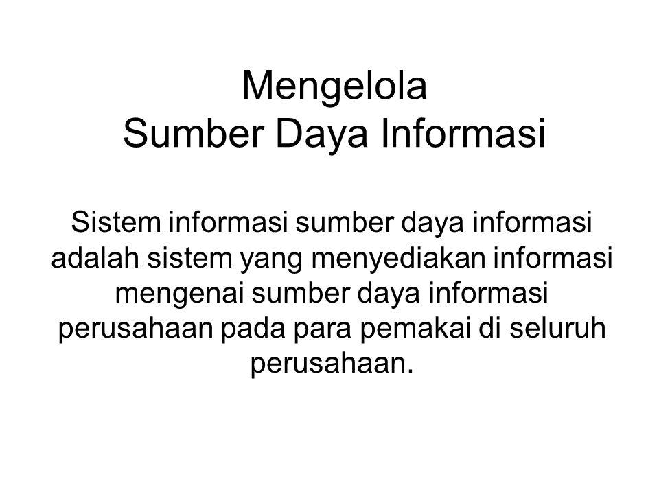 Mengelola Sumber Daya Informasi Sistem informasi sumber daya informasi adalah sistem yang menyediakan informasi mengenai sumber daya informasi perusah
