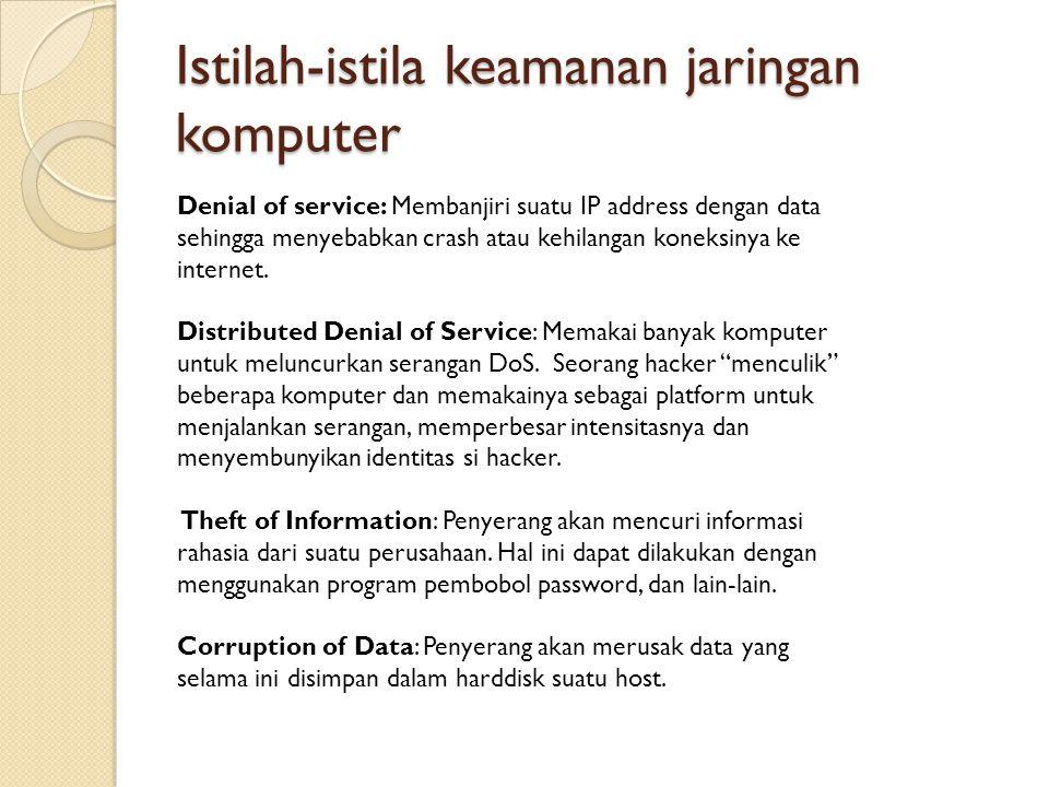 Istilah-istila keamanan jaringan komputer Denial of service: Membanjiri suatu IP address dengan data sehingga menyebabkan crash atau kehilangan koneks