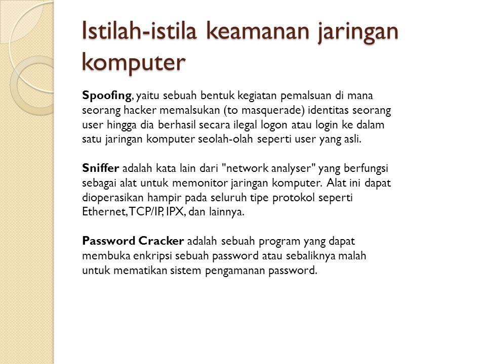 Istilah-istila keamanan jaringan komputer Spoofing, yaitu sebuah bentuk kegiatan pemalsuan di mana seorang hacker memalsukan (to masquerade) identitas