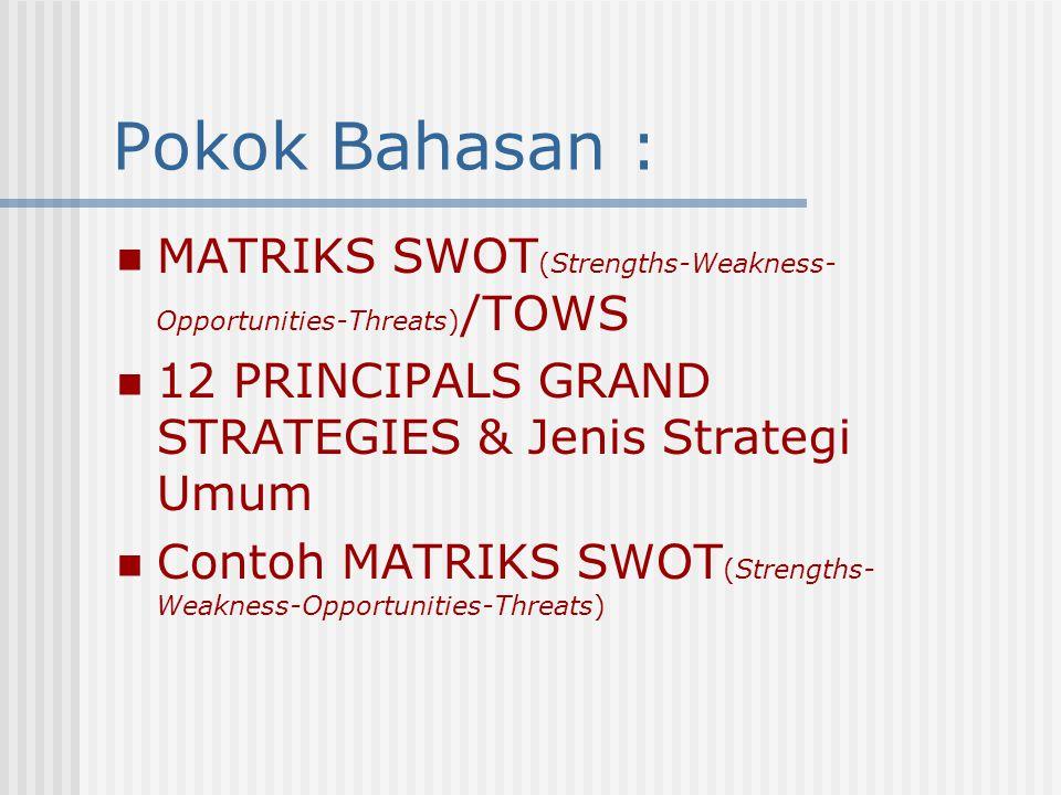 Manajemen Strategi Matriks SWOT (Strengths- Weakness-Opportunities-Threats) STIKes Indonesia Maju (STIKIM) Gedung HZ Jl.