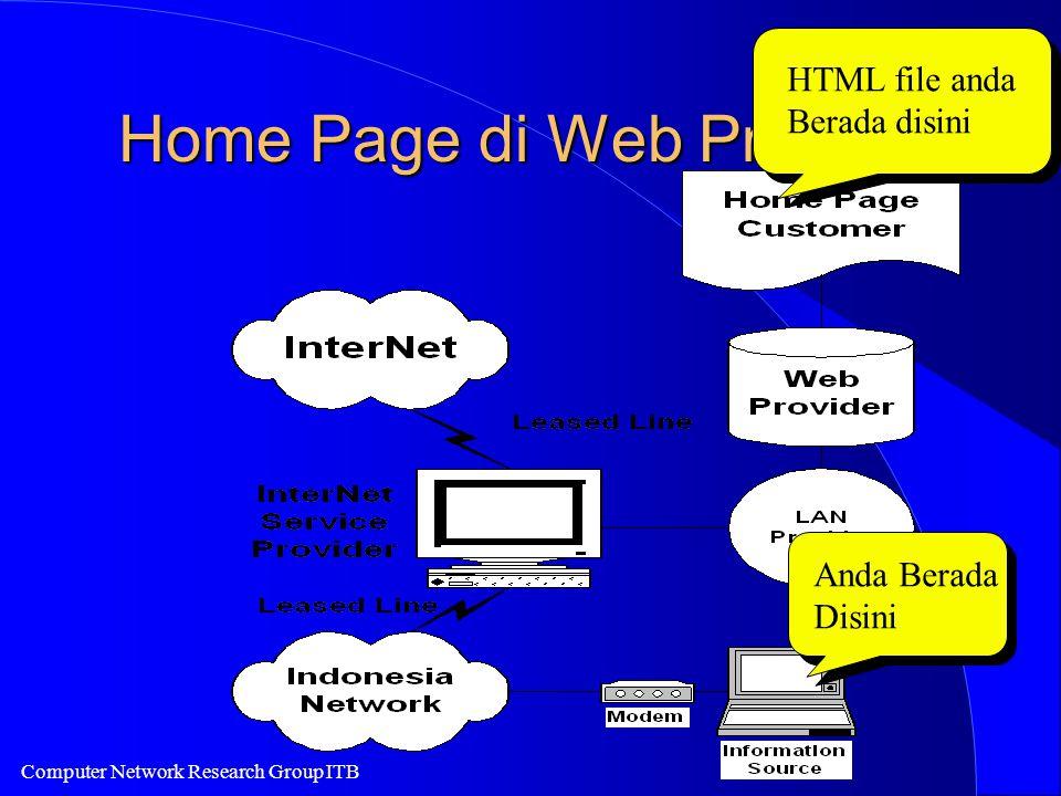 Computer Network Research Group ITB Home Page di Web Provider Anda Berada Disini HTML file anda Berada disini