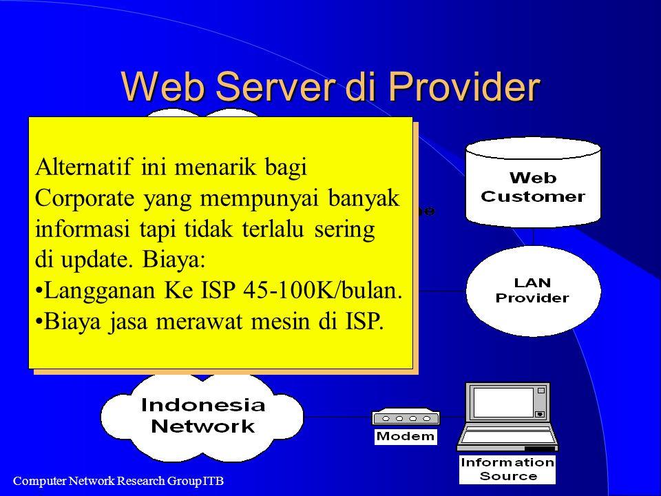 Computer Network Research Group ITB Web Server di Provider Alternatif ini menarik bagi Corporate yang mempunyai banyak informasi tapi tidak terlalu sering di update.