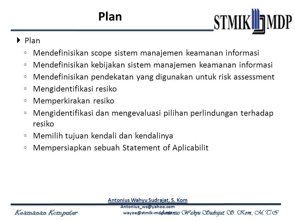 Keamanan Komputer Antonius Wahyu Sudrajat, S. Kom., M.T.I Plan  Plan ◦ Mendefinisikan scope sistem manajemen keamanan informasi ◦ Mendefinisikan kebi