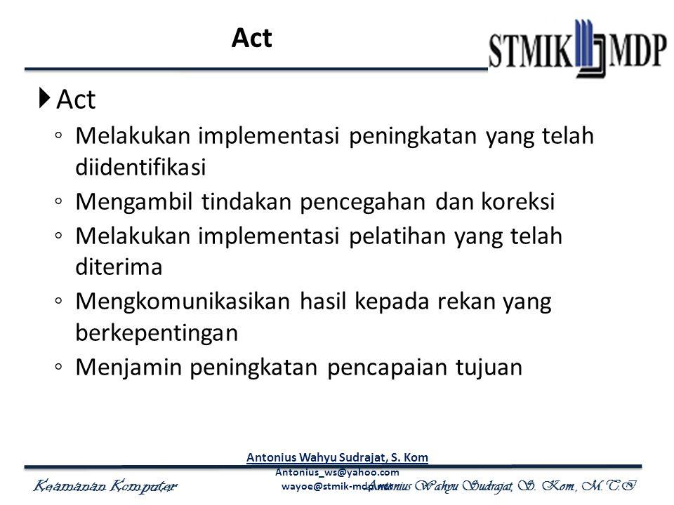 Keamanan Komputer Antonius Wahyu Sudrajat, S. Kom., M.T.I Act  Act ◦ Melakukan implementasi peningkatan yang telah diidentifikasi ◦ Mengambil tindaka