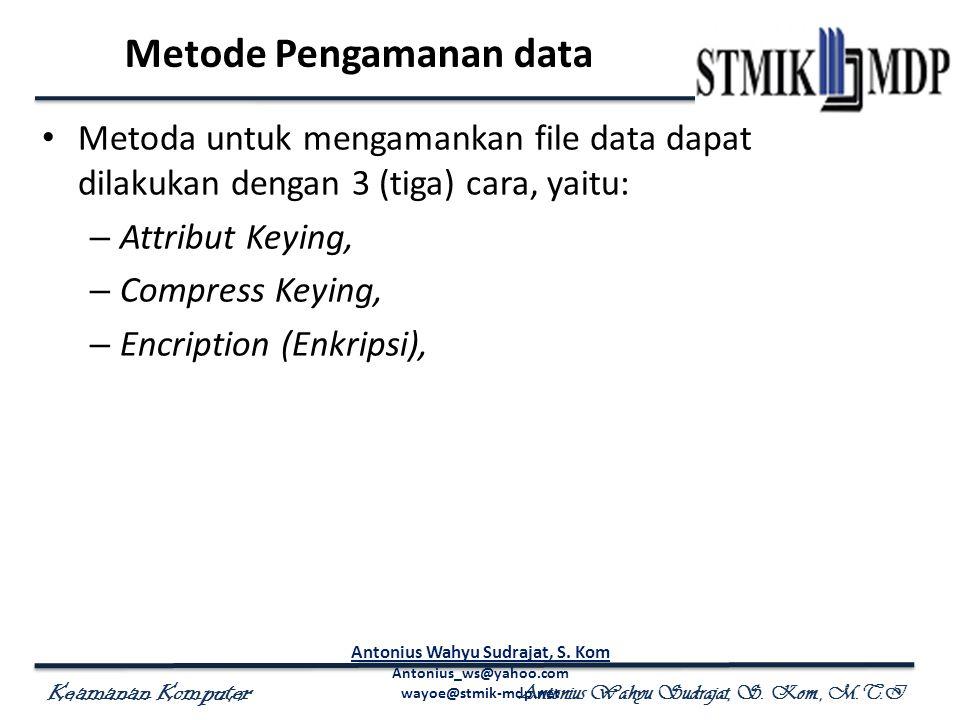 Keamanan Komputer Antonius Wahyu Sudrajat, S. Kom., M.T.I Metode Pengamanan data Metoda untuk mengamankan file data dapat dilakukan dengan 3 (tiga) ca
