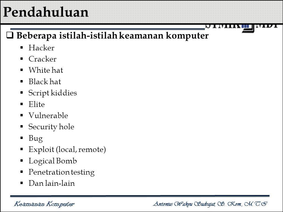Keamanan Komputer Antonius Wahyu Sudrajat, S. Kom., M.T.I Pendahuluan  Beberapa istilah-istilah keamanan komputer  Hacker  Cracker  White hat  Bl