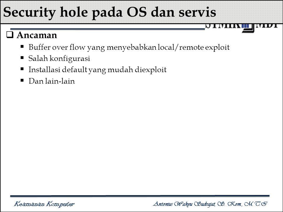 Keamanan Komputer Antonius Wahyu Sudrajat, S. Kom., M.T.I Security hole pada OS dan servis  Ancaman  Buffer over flow yang menyebabkan local/remote