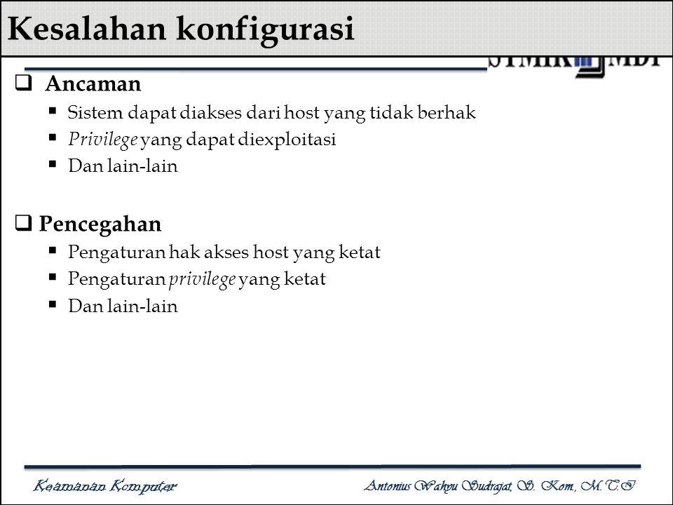 Keamanan Komputer Antonius Wahyu Sudrajat, S. Kom., M.T.I Kesalahan konfigurasi  Ancaman  Sistem dapat diakses dari host yang tidak berhak  Privile