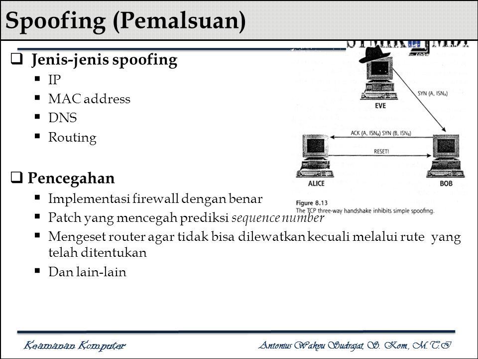 Keamanan Komputer Antonius Wahyu Sudrajat, S. Kom., M.T.I Spoofing (Pemalsuan)  Jenis-jenis spoofing  IP  MAC address  DNS  Routing  Pencegahan