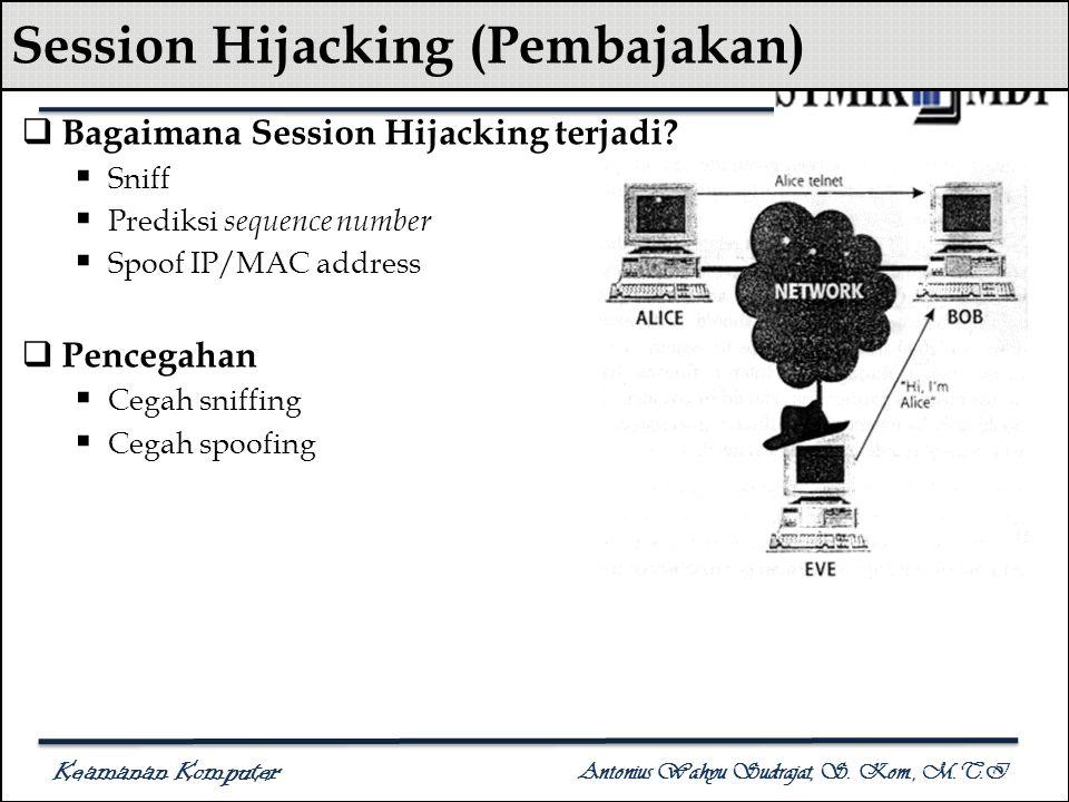 Keamanan Komputer Antonius Wahyu Sudrajat, S. Kom., M.T.I Session Hijacking (Pembajakan)  Bagaimana Session Hijacking terjadi?  Sniff  Prediksi seq