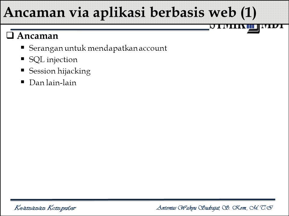 Keamanan Komputer Antonius Wahyu Sudrajat, S. Kom., M.T.I Ancaman via aplikasi berbasis web (1)  Ancaman  Serangan untuk mendapatkan account  SQL i