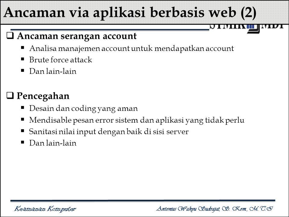 Keamanan Komputer Antonius Wahyu Sudrajat, S. Kom., M.T.I Ancaman via aplikasi berbasis web (2)  Ancaman serangan account  Analisa manajemen account