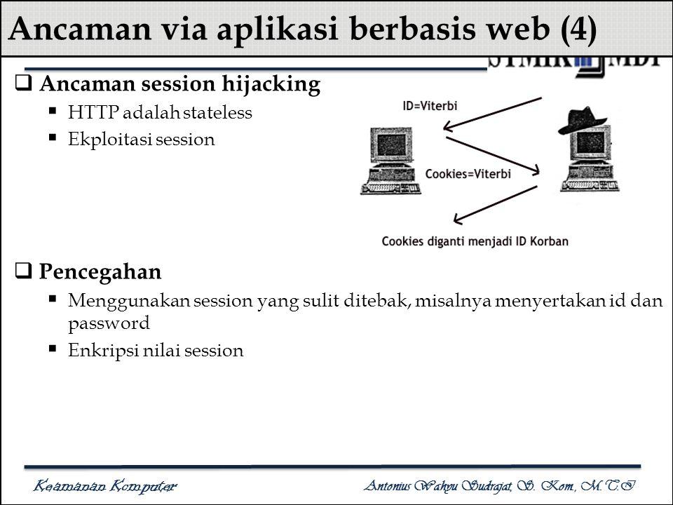 Keamanan Komputer Antonius Wahyu Sudrajat, S. Kom., M.T.I Ancaman via aplikasi berbasis web (4)  Ancaman session hijacking  HTTP adalah stateless 