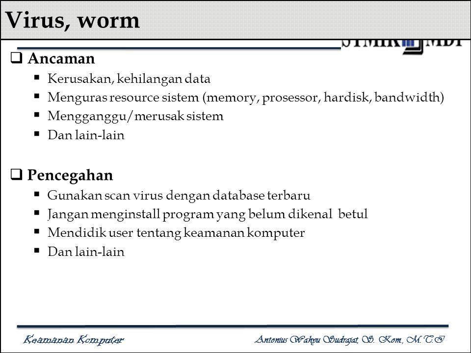 Keamanan Komputer Antonius Wahyu Sudrajat, S. Kom., M.T.I Virus, worm  Ancaman  Kerusakan, kehilangan data  Menguras resource sistem (memory, prose