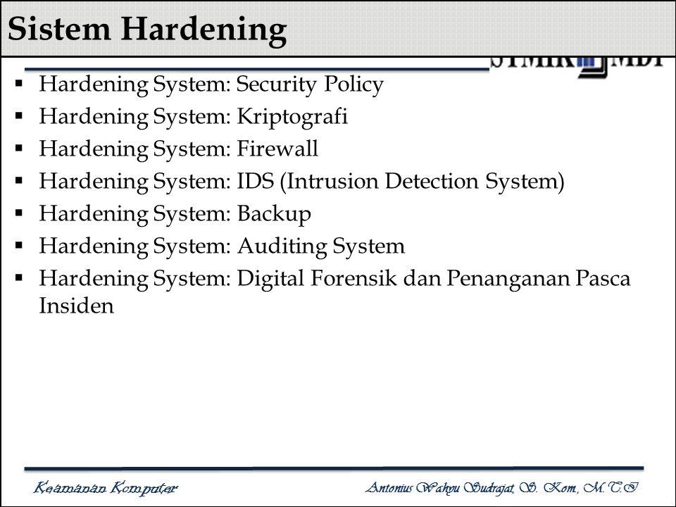 Keamanan Komputer Antonius Wahyu Sudrajat, S. Kom., M.T.I Sistem Hardening  Hardening System: Security Policy  Hardening System: Kriptografi  Harde