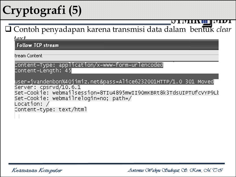 Keamanan Komputer Antonius Wahyu Sudrajat, S. Kom., M.T.I Cryptografi (5)  Contoh penyadapan karena transmisi data dalam bentuk clear text
