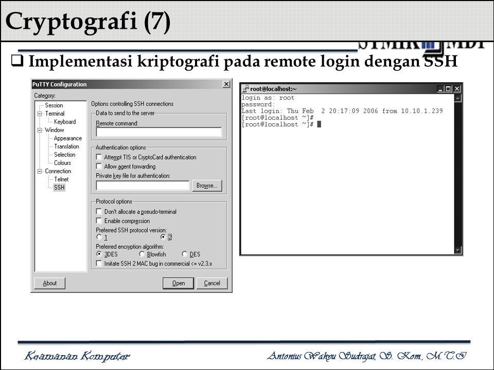 Keamanan Komputer Antonius Wahyu Sudrajat, S. Kom., M.T.I Cryptografi (7)  Implementasi kriptografi pada remote login dengan SSH