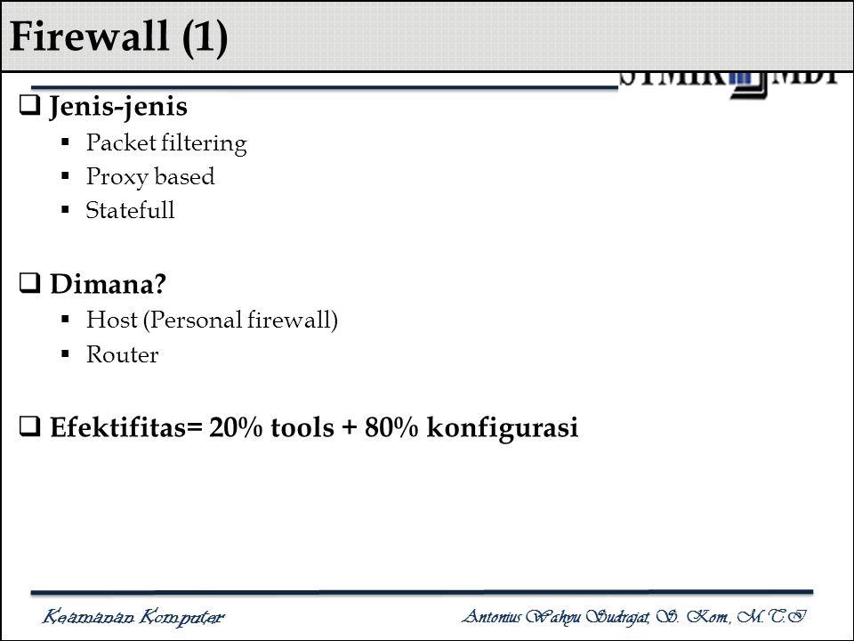 Keamanan Komputer Antonius Wahyu Sudrajat, S. Kom., M.T.I Firewall (1)  Jenis-jenis  Packet filtering  Proxy based  Statefull  Dimana?  Host (Pe