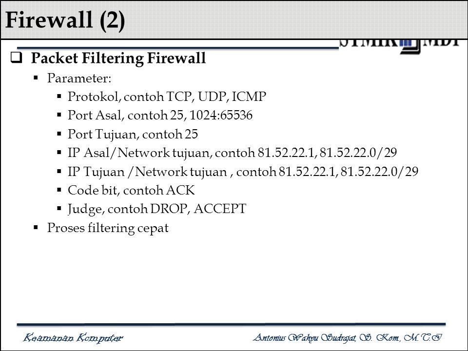 Keamanan Komputer Antonius Wahyu Sudrajat, S. Kom., M.T.I Firewall (2)  Packet Filtering Firewall  Parameter:  Protokol, contoh TCP, UDP, ICMP  Po
