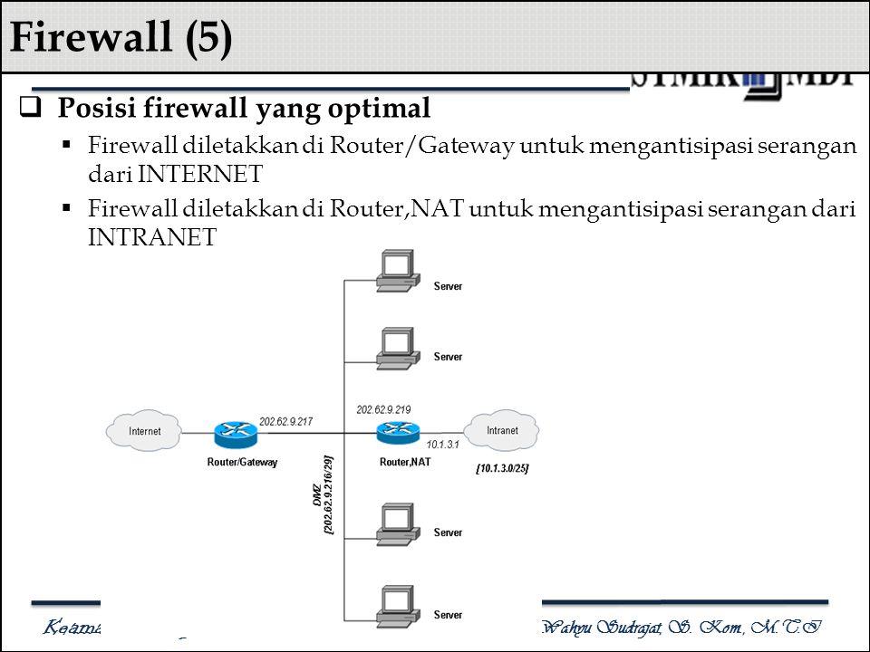 Keamanan Komputer Antonius Wahyu Sudrajat, S. Kom., M.T.I Firewall (5)  Posisi firewall yang optimal  Firewall diletakkan di Router/Gateway untuk me