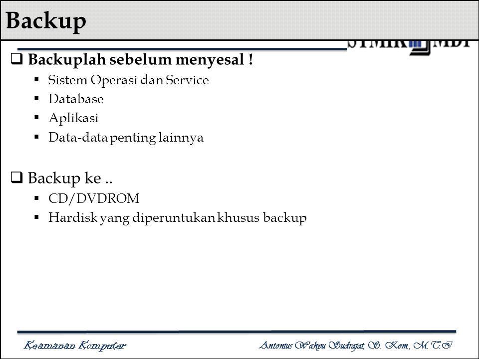 Keamanan Komputer Antonius Wahyu Sudrajat, S. Kom., M.T.I Backup  Backuplah sebelum menyesal !  Sistem Operasi dan Service  Database  Aplikasi  D
