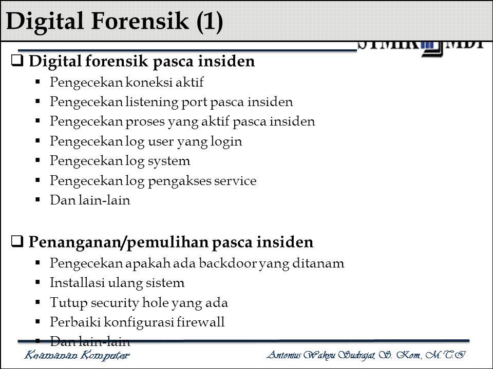 Keamanan Komputer Antonius Wahyu Sudrajat, S. Kom., M.T.I Digital Forensik (1)  Digital forensik pasca insiden  Pengecekan koneksi aktif  Pengeceka
