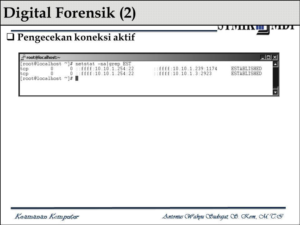 Keamanan Komputer Antonius Wahyu Sudrajat, S. Kom., M.T.I Digital Forensik (2)  Pengecekan koneksi aktif